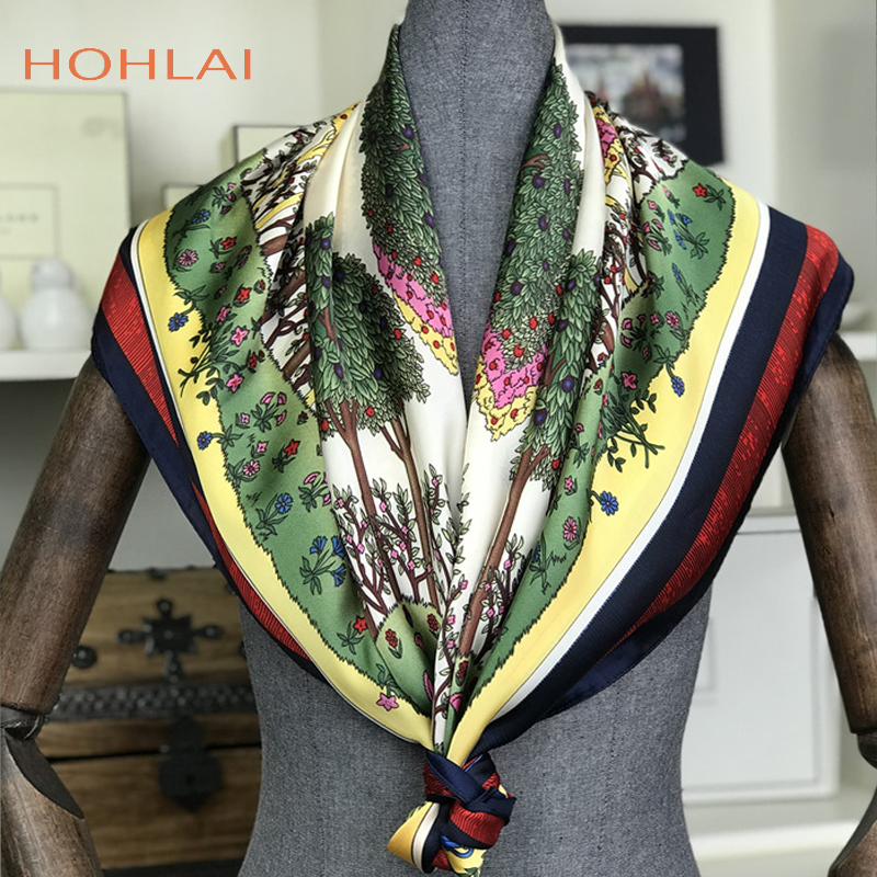 Fashion 100% <font><b>Silk</b></font> Feeling <font><b>Scarf</b></font> Women Female Satin Shawl Flower Printed <font><b>Silk</b></font> <font><b>Scarves</b></font> Foulard Neckerchief Square Head Wraps <font><b>90x90</b></font> image