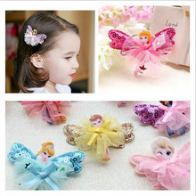LOEEL New Children Hair Ornaments Acrylic Exquisite Cartoon Frozen Queen Princess Lace Hairpin Girls Headdress Baby Hair Clips(China)