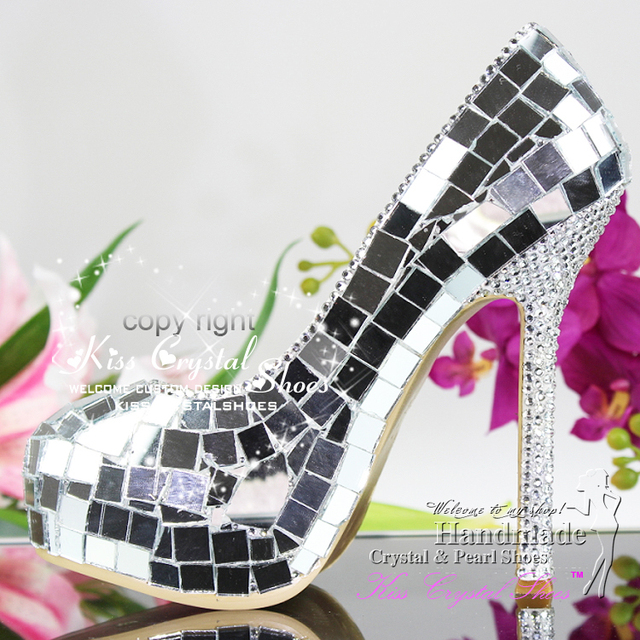 Glass Shoes Silver Glass Wedding Shoes Cinderella Shoes High Heel 5.5 inch  women high heels b9d61115c2ff