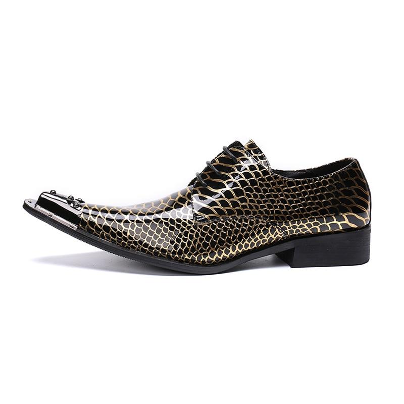 Zapatos de cuero para hombre con estampado negro y dorado, zapatos de fiesta de lujo para hombre hombre - 3