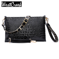 White Envelope Evening Clutch Bag Crocodile Pattern Genuine Leather Women Clutches Party Bags Purses And Handbags