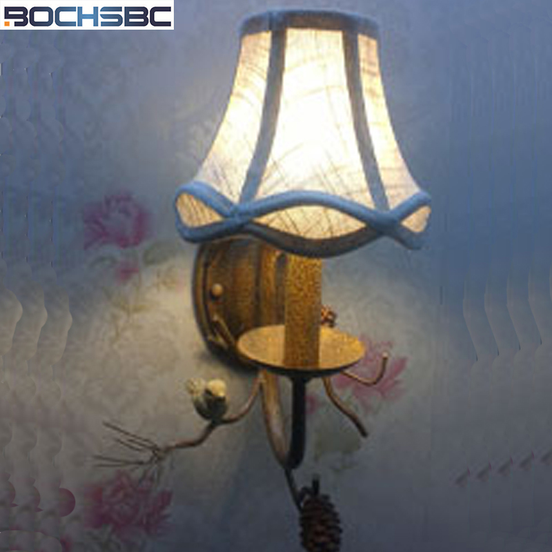 BOCHSBC Cloth Lampshade Wall Lamp 2 headed Bird Creative Country Retro Wall Lights for Hotel Living Room Bedside With Free Post