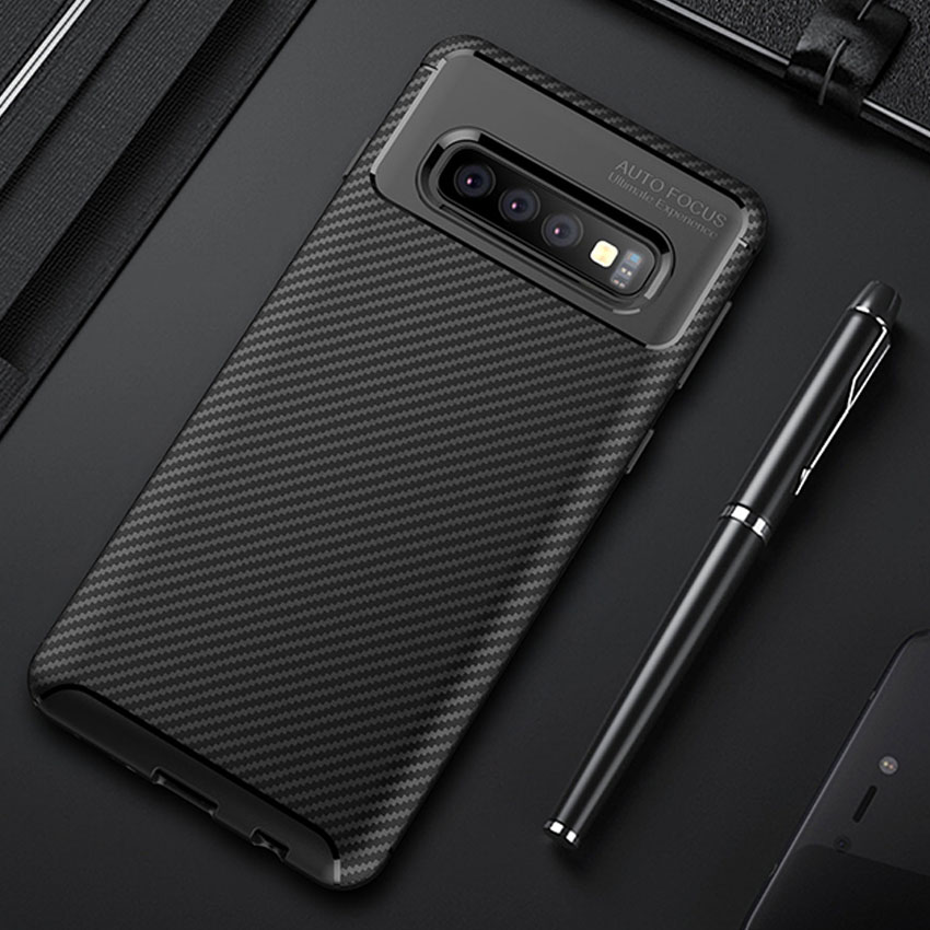 50Pcs/Lot For Samsung Galaxy S10 E Flexible Carbon Fiber Shockproof Rugged Case For Samsung Galaxy S10 S10 Plus