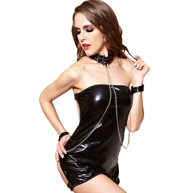 Adult Women Sexy Baby Dolls Bondage PVC Dress Ladies Black Tube Dress Fancy  Porn Dance Club Erotic Off Shoulder Outfit For Girls