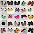 Artesanais Genuínos Mocassins de Couro Sapatos de Bebê Infantil