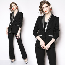 Set 2019 spring and summer new fashion Slim OL temperament business dress professional wear wide leg pants two-piece