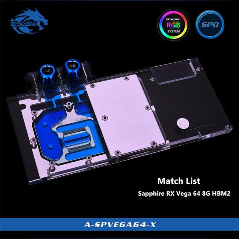 Bykski Couverture Complète GPU Bloc De L'eau Pour Saphir RX Vega 64 8G HBM2 Carte Graphique A-SPVEGA64-X