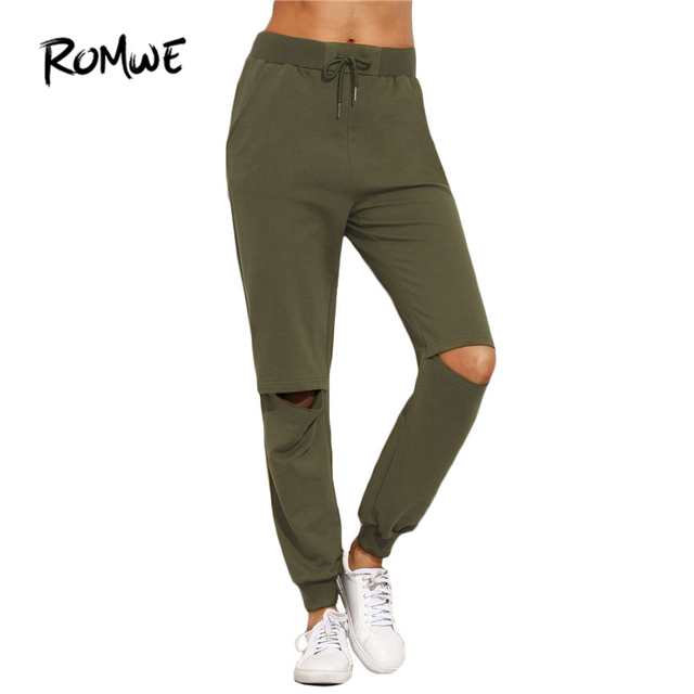 ecfdafdc809 ROMWE Women Ripped Trousers For Autumn Ladies Plain Army Green Drawstring  Mid Waist Tie Cut Out