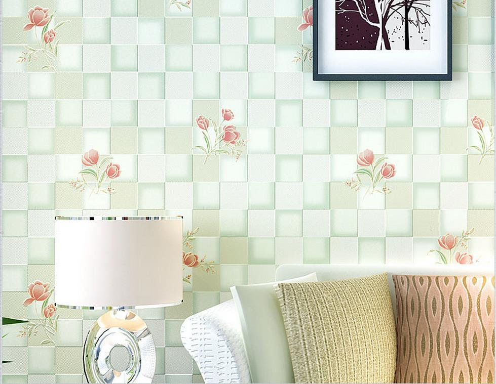 ФОТО Non-woven wallpaper square squares wallpaper warm pastoral bedroom wallpaper flower wallpaper special wholesale