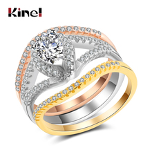 Kinel Luxury 3Pcs/Set Wedding Ring For Women Fashion 3pcs Mix Metal Colors Zircon Rings Accessories Party Jewelry Gift