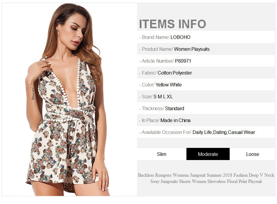 77dfb2e4cdb Backless Rompers Womens Jumpsuit Summer 2018 Fashion Deep V Neck Sexy  Jumpsuits Shorts Women Sleeveless Floral Print Playsuit. 0 0-1 dress ...