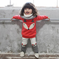 Girls Set Character Fox Long Sleeve Cotton Children Clothing Top+Skinny Pants O-neck Fashion Toddler Clothes for Autumn