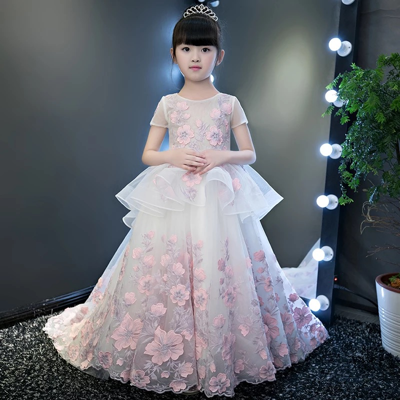 2017baby girls elegant flowers princess dresses children kids long tail  evening ball gown birthday party wedding. sku  32849909158 a8bdac1d930e