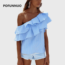 Pofunuo One shoulder ruffle blouse shirt women 2017 Summer casual short sleeve blue striped shirt blouse Fashion pink top blusas