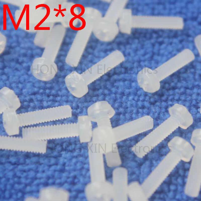 M2 * 8 biały 1 sztuk okrągłe głowy śruby nylonowe 8mm śruba z tworzywa sztucznego izolacji Philips śruba brand new RoHS zgodny z PC/deska DIY hobby
