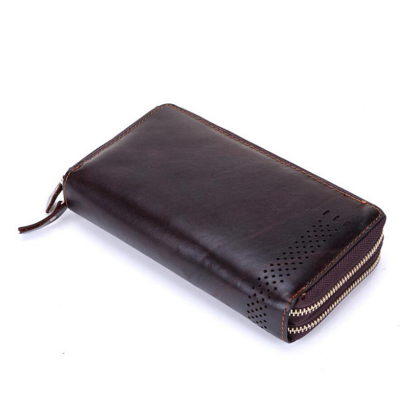 Luxury Wallets Double Zipper Genuine Leather Male Purse Business Men Long Wallet Designer Brand Mens Clutch Bag banlosen brand men wallets double zipper vintage genuine leather clutch wallets male purses large capacity men s wallet