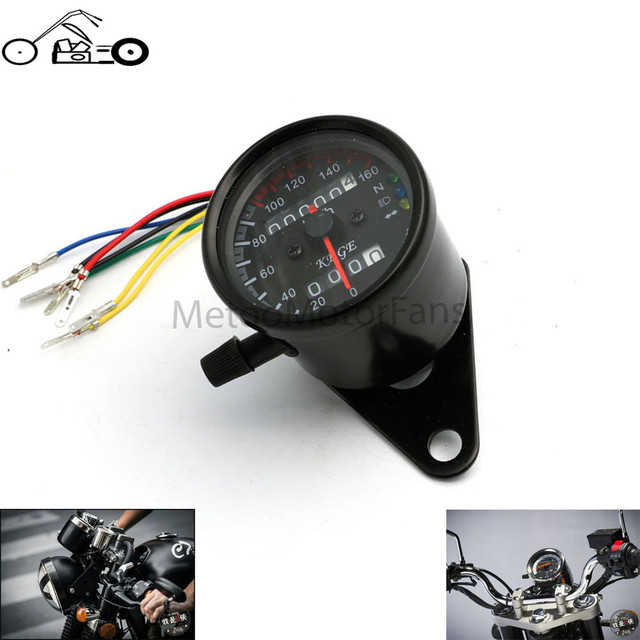 Motofans 12V Universal Motorcycle LED Double Odometer Speedometer Gauge Backlight Signal Measurements Light Digital Tachometer