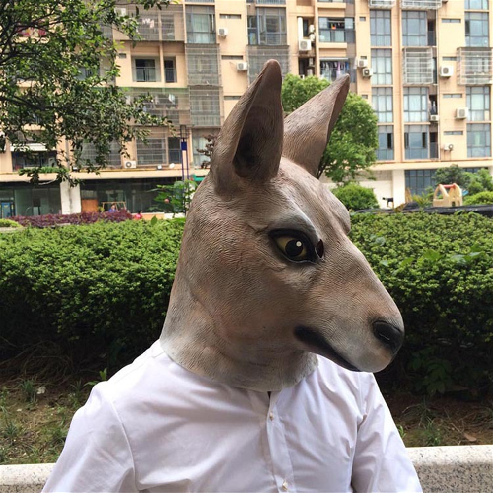 Cosplay Halloween Carnival Purim Party Kangaroo Headgear Latex Mask Spoof Personality Mask Helmet