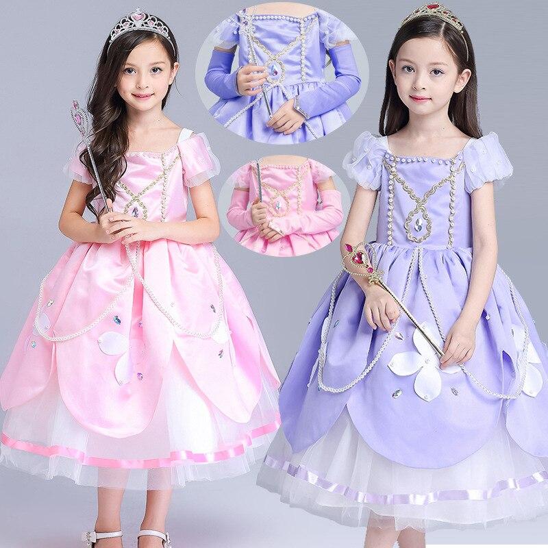 Fashion Princess Sofia Dress Hand Made Bead Costume Long Halloween Cosplay Vestido Roupas Infantil Meninas 4 to 10 Years недорго, оригинальная цена