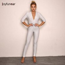 b0185ce52ad Joyfunear Autumn New V-neck Sequin Sexy Rompers Womens Jumpsuit Lace Up  Bodycon Bodysuit Evening Party Jumpsuits For Women 2018