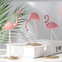 Pink flamingo cute animal shape resin decoration home garden living room
