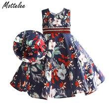 Vintage Girls Dress Flower Print Kids Summer Floral Dresses Princess Children Frocks Cotton Baby Sundresses with Hat