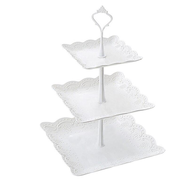 3 яруса кружевных Пластик подставка для свадебного торта днем Чай Свадебные тарелки вечерние посуда для выпечки торта магазин три Слои торт стеллаж для хранения лоток - Цвет: 01
