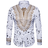 New Tops Men S Casual Shirt 2018 Spring 3D National Style Printing Floral Pattern Men Fashion
