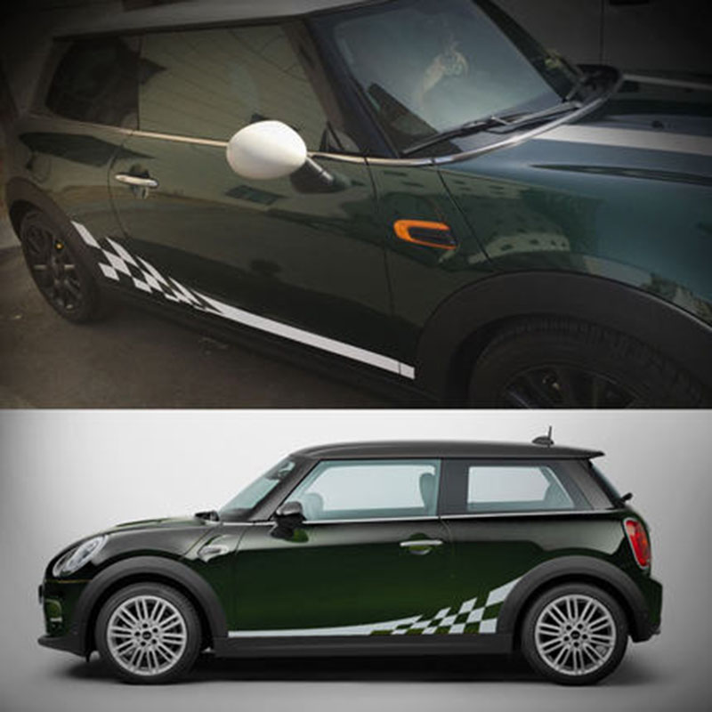 Styling AG Sporty Side Skirt Stickers Racing Waistline Sticker for MINI Cooper Countryman R52 R53 R55 R56 R60 R61 F55 F56 F57 sun protection cool hat car logo for mini cooper s r53 r56 r60 f55 f56 r55 f60 clubman countryman roadster paceman car styling