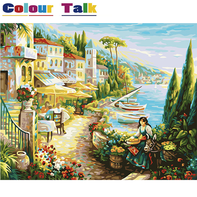 Oil Painting Coloring by Numbers Drawing on Canvas Seine River Picture for Living Room Home Decor DIY by Numbers Unique P-0391 ...