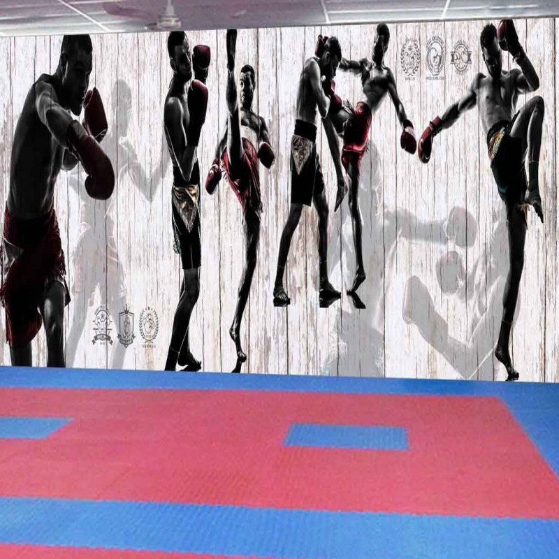 Custom photo wallpaper Custom Retro Nostalgic Boxing Sports Gym Background Wall Fresco Fitness place Wallpaper mural suotf adult fitness boxing pear sports punching bag martial arts supplies boxing speed ball punching bag excercise equipment