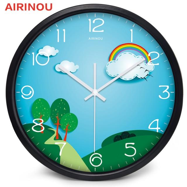 Airinou Interesting Rainbow Forest children\'s Bedroom Wall Clock The ...