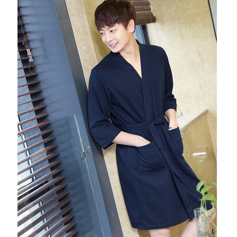 Lovers Summer Water Absorption Fashion Towel Bath Robe Men Sexy Kimono Waffle Bathrobe Mens Plus Size Dressing Gown Male Robes #2