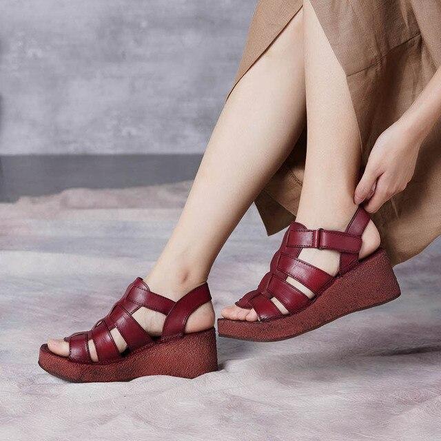 ba2577844 2019 VALLU Summer Shoes Flat Platform Women Sandals Peep Toes Genuine  Leather Open Toes Handmade Vintage Wedges Sandals