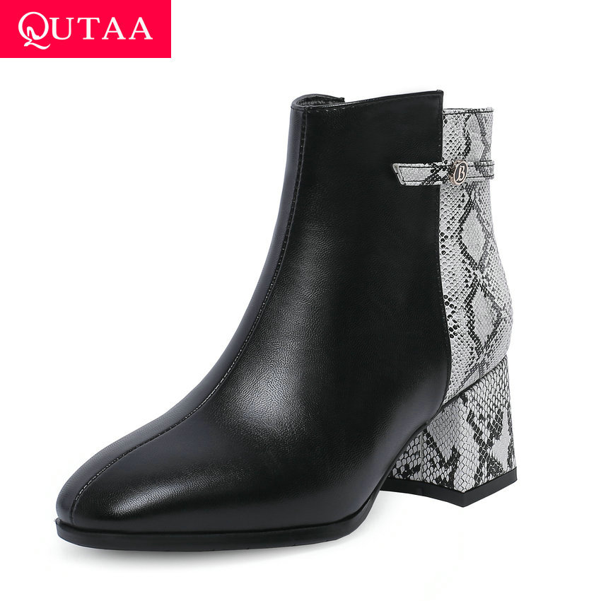 QUTAA 2020 PU Leather Mixed Color Fashion Snakeskin Women Shoes Round Toe Sexy Thick Heel Side Zipper Ankle Boots Size 34-43QUTAA 2020 PU Leather Mixed Color Fashion Snakeskin Women Shoes Round Toe Sexy Thick Heel Side Zipper Ankle Boots Size 34-43