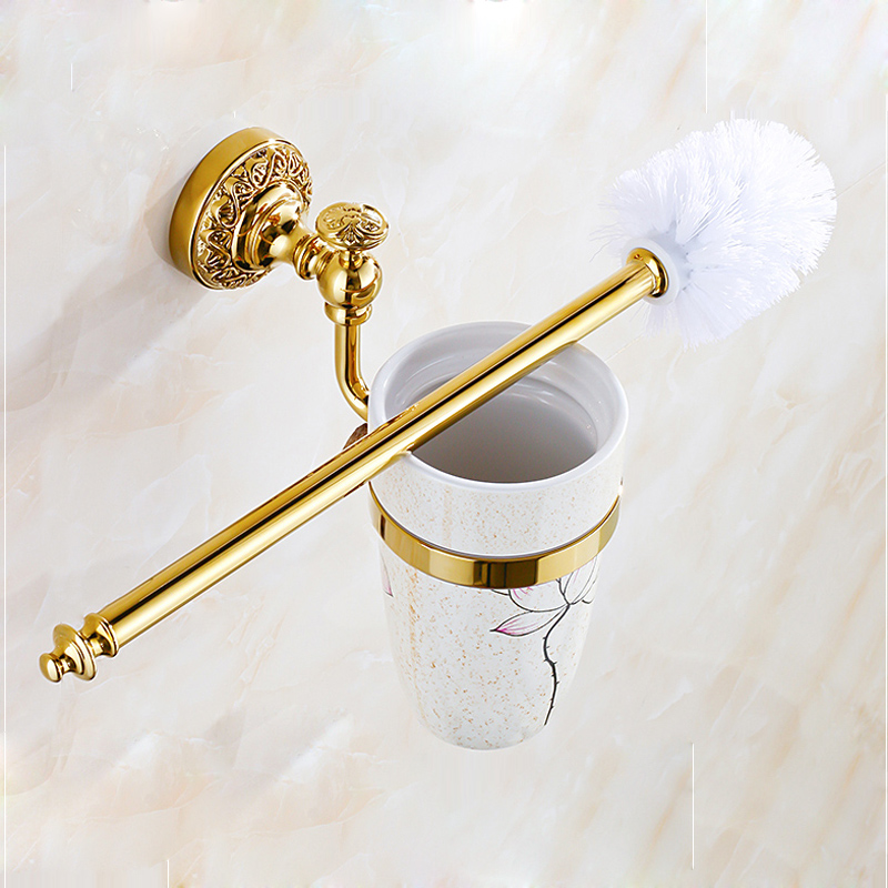 Gold Plated Bathroom Flower Painting Cup Wall Mounted Toilet Brushed Holder