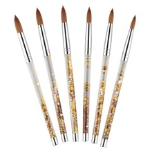 Yeni 1 adet Kolinsky Sable akrilik tırnak fırçası ile sıvı akış Glitter tırnak resim fırçası tırnak sanat araçları için 8 #10 #12 #14 #16 #