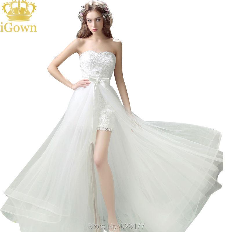 Detachable train wedding dress short front long back for Short wedding dress with long train