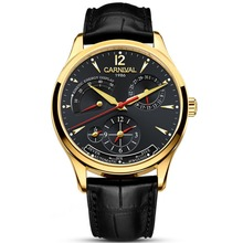 Carnival Mens Dual Time Zone Display Multifunction Leather Watchband Automatic Mechanical Watch – gold bezel black dial