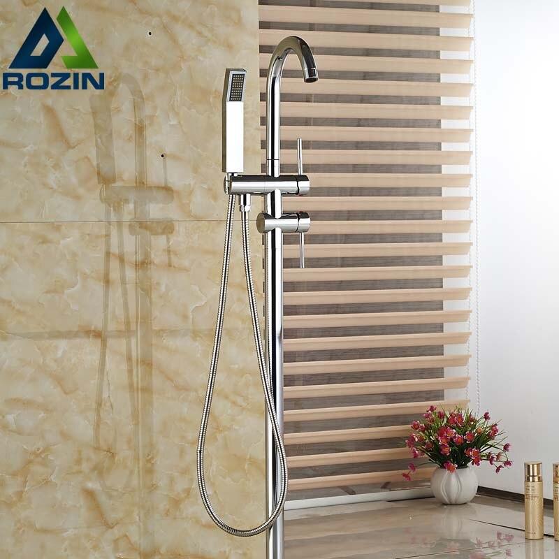 Free Standing Floor Mount Bathroom Tub Mixer Faucet Single Handle Bathtub Filler with Handshower Single Pipe