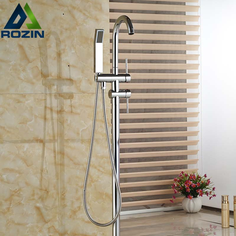 Cheaper Free Standing Floor Mount Bathroom Tub Mixer Faucet Single Handle Bathtub Filler with Handshower oil rubbed bronze waterfall tub mixer faucet free standing floor mount bathtub faucet with handshower