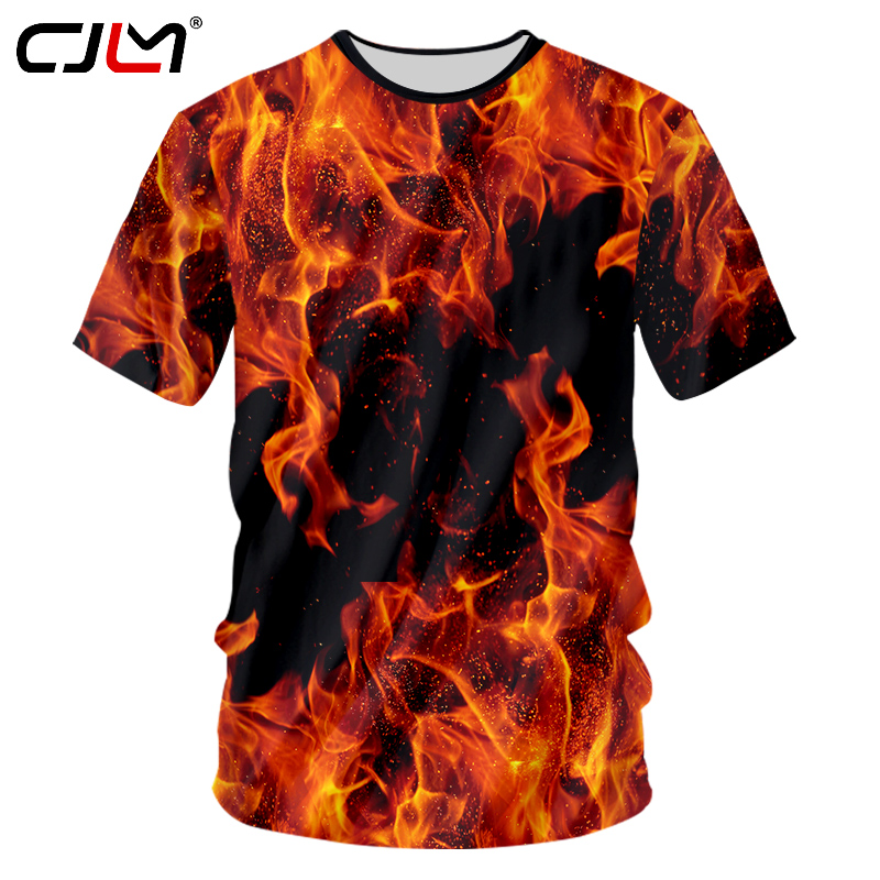 CJLM New Summer Top 3d Tshirts Print Red Fire Casual T-shirt Man Hip Hop Outwears Shirts Homme Slim Fit Fitness Undershirts 7XL