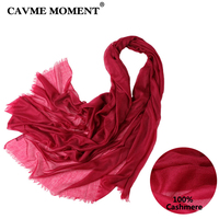 CAVME 2019 Spring Pure Cashmere Scarf for Women Ladies Scarves Soft Cashmere Solid Color Long Scarve with Tassel 230*100cm 300g