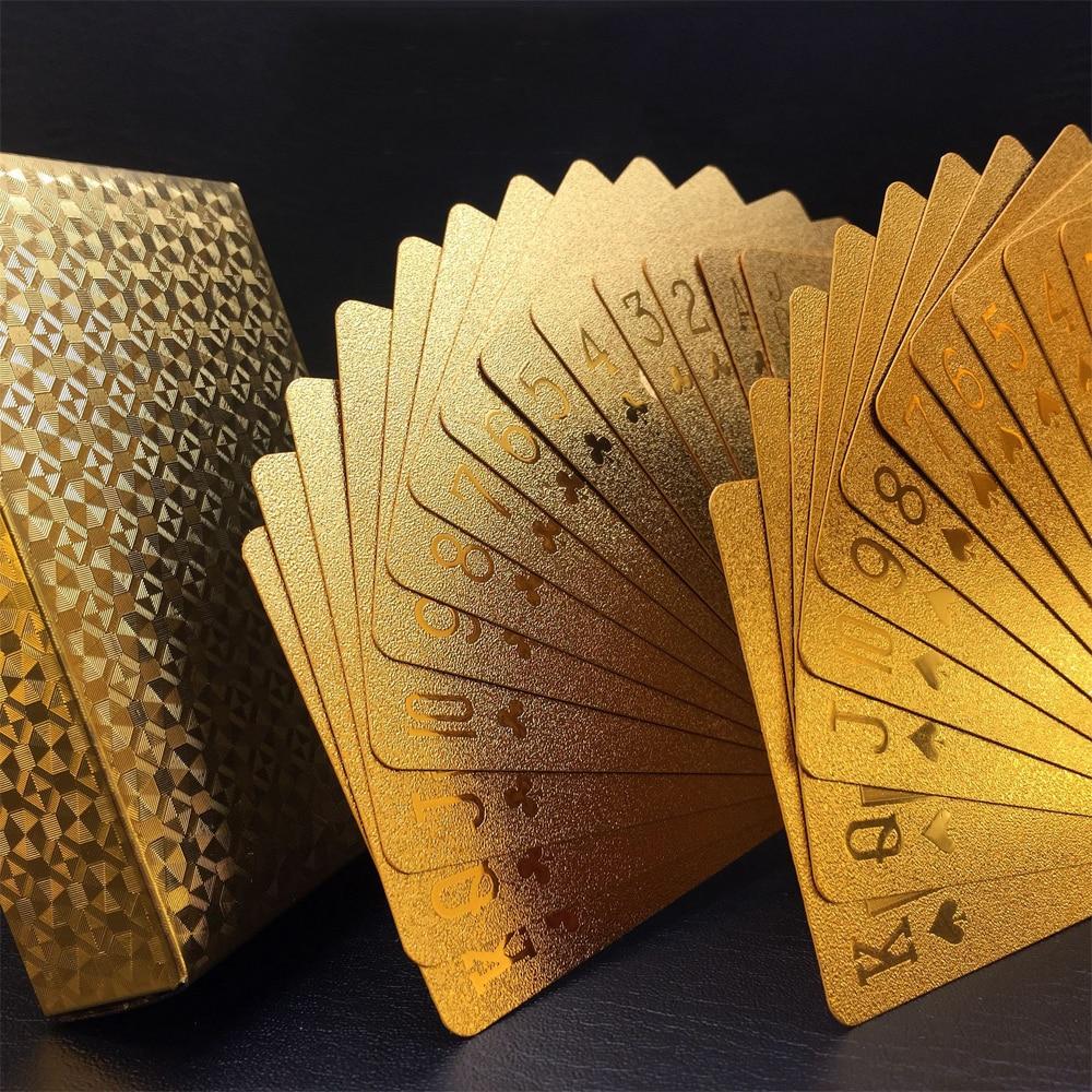 Creative Matte Waterproof Gold Plating Plastic Poker Table Game Cards PVC Dollar EURO Grid Printing Cards