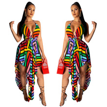 Women Strap V-neck Rainbow Stripes Printed Backless Irregular Dress Holiday