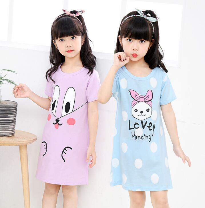 New  Summer Children's Sleepwear Girls Cotton Short-sleeved Dress Fashion Print Pajamas Skirt Girls Sleepwear Large Size(China)