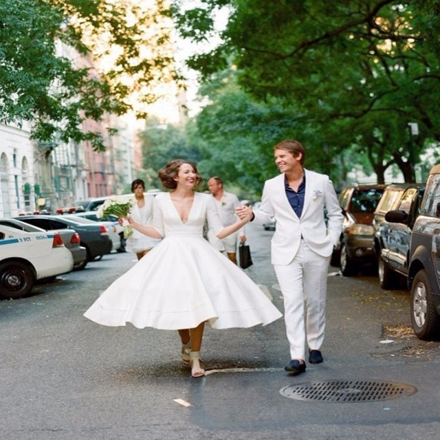 2017 Sexy Deep V Neck Half Sleeve Satin Mid Calf Wedding Dresses