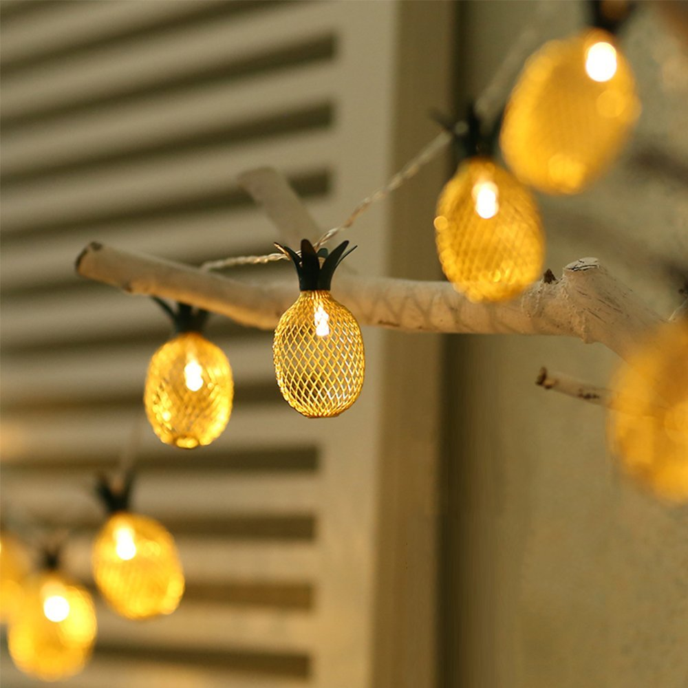 Pineapple String Lights,Fairy String Lights Battery Operated For Christmas Home Wedding Party Bedroom Birthday Home Decoration