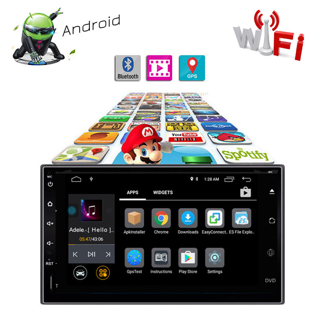 Universal Mirror Link WiFi DVD Player Android 7.1 Bluetooth Car Multimedia Player FM AM AutoRadio Steering Wheel Control 16G ROM