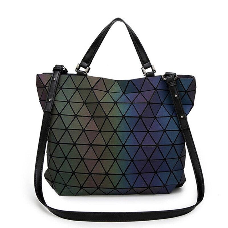 Japón luminoso Bao mujeres bolsas geometría láser plegable bolsos Casual Tote señoras bolso Messenger bolsos femeninos 2018